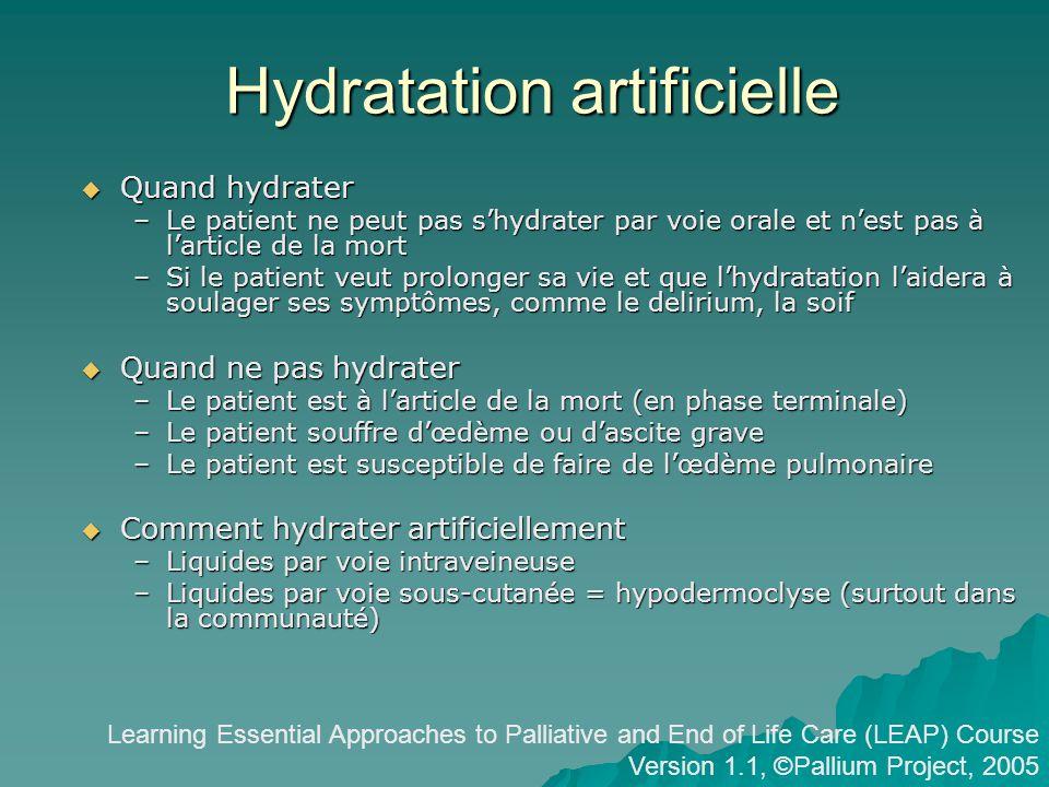 Hydratation artificielle
