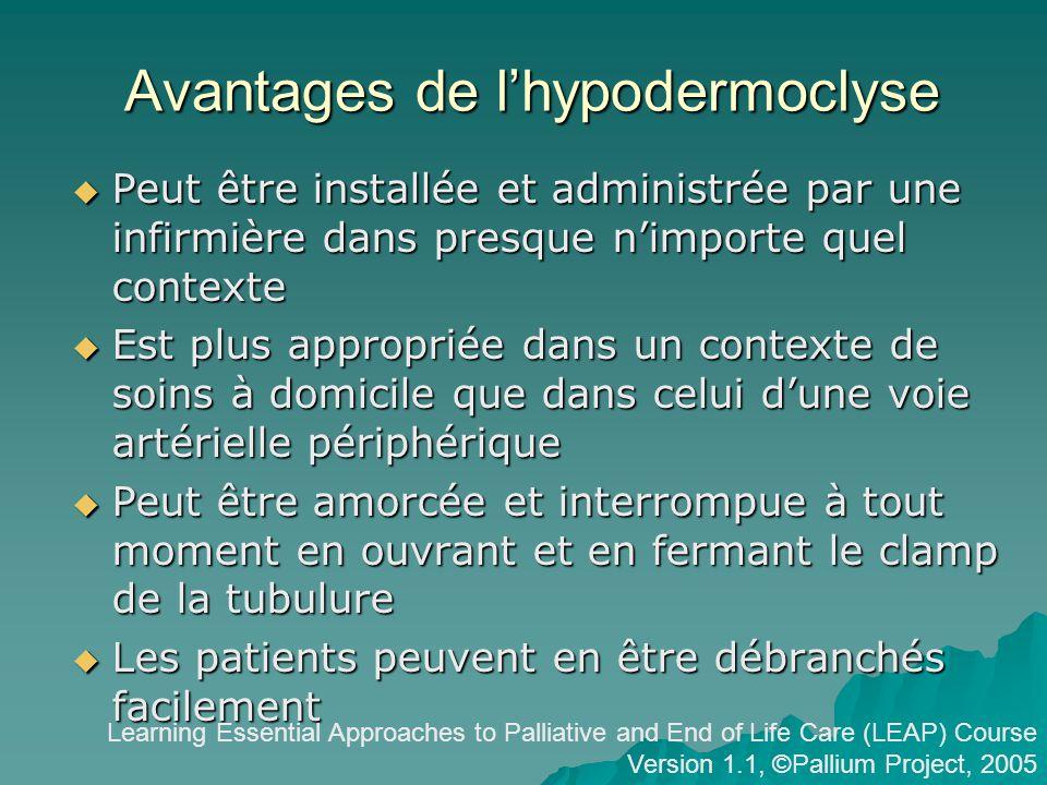 Avantages de l'hypodermoclyse