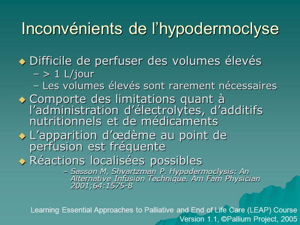 Inconvénients de l'hypodermoclyse