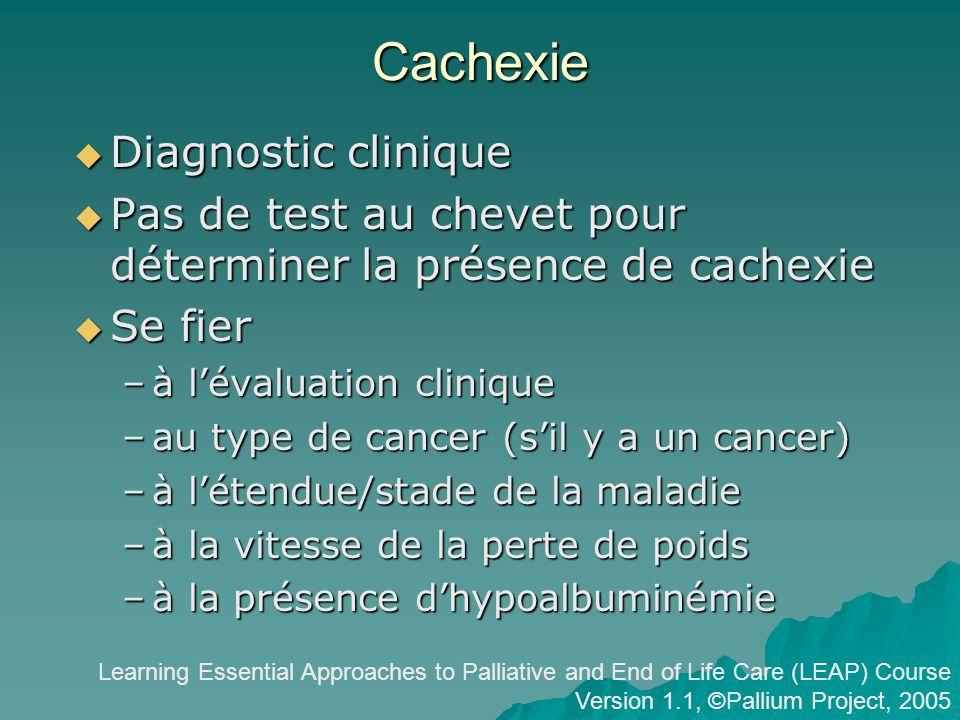 Cachexie Diagnostic clinique