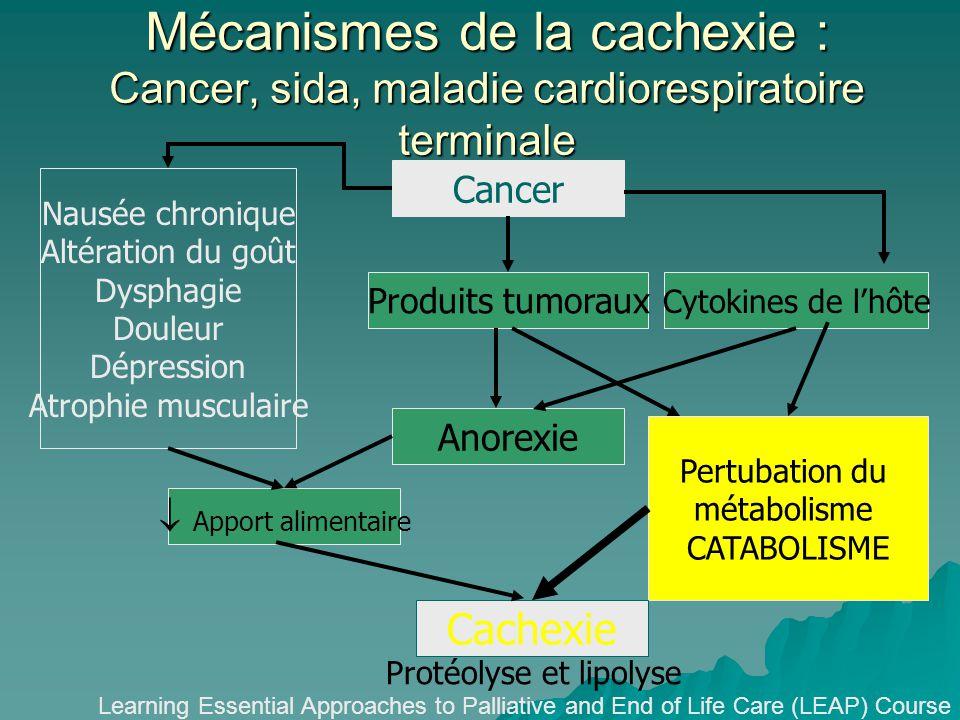 Mécanismes de la cachexie : Cancer, sida, maladie cardiorespiratoire terminale