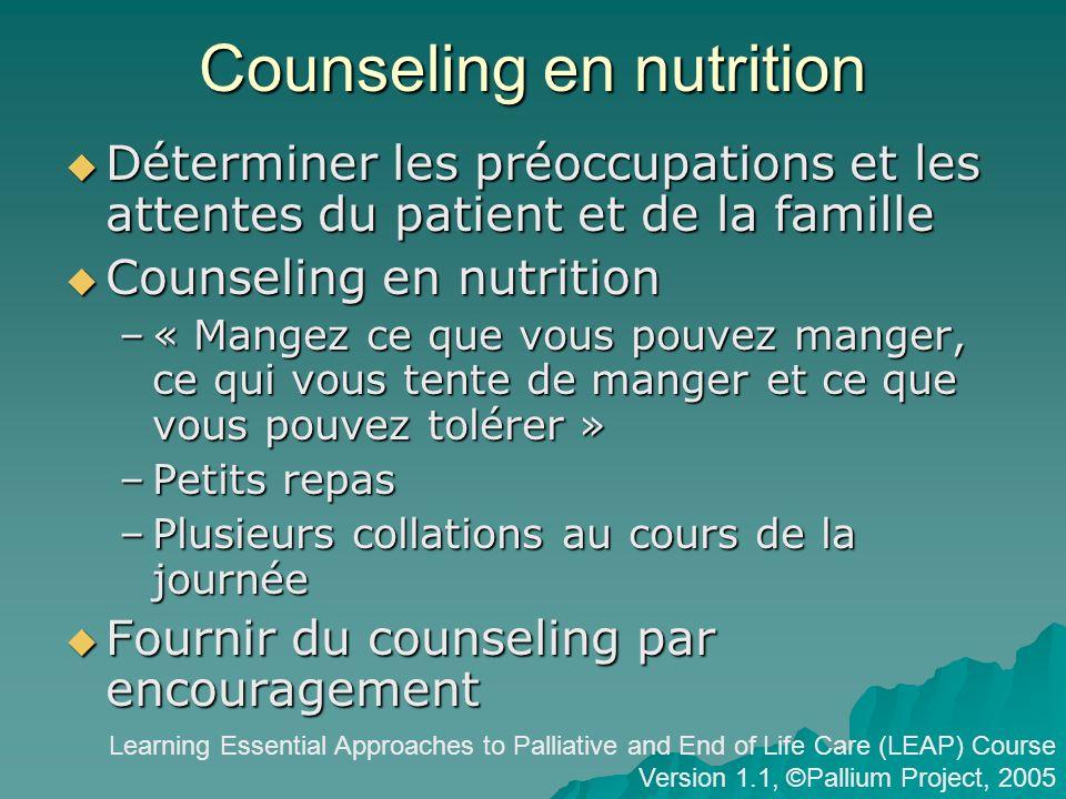 Counseling en nutrition