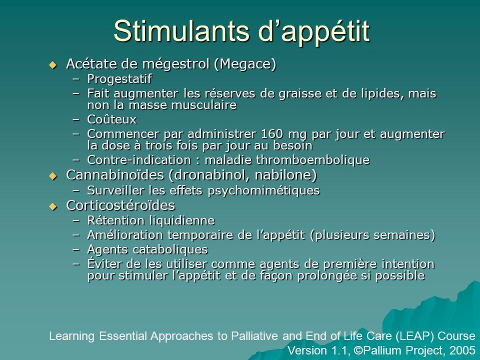 Stimulants d'appétit Acétate de mégestrol (Megace)