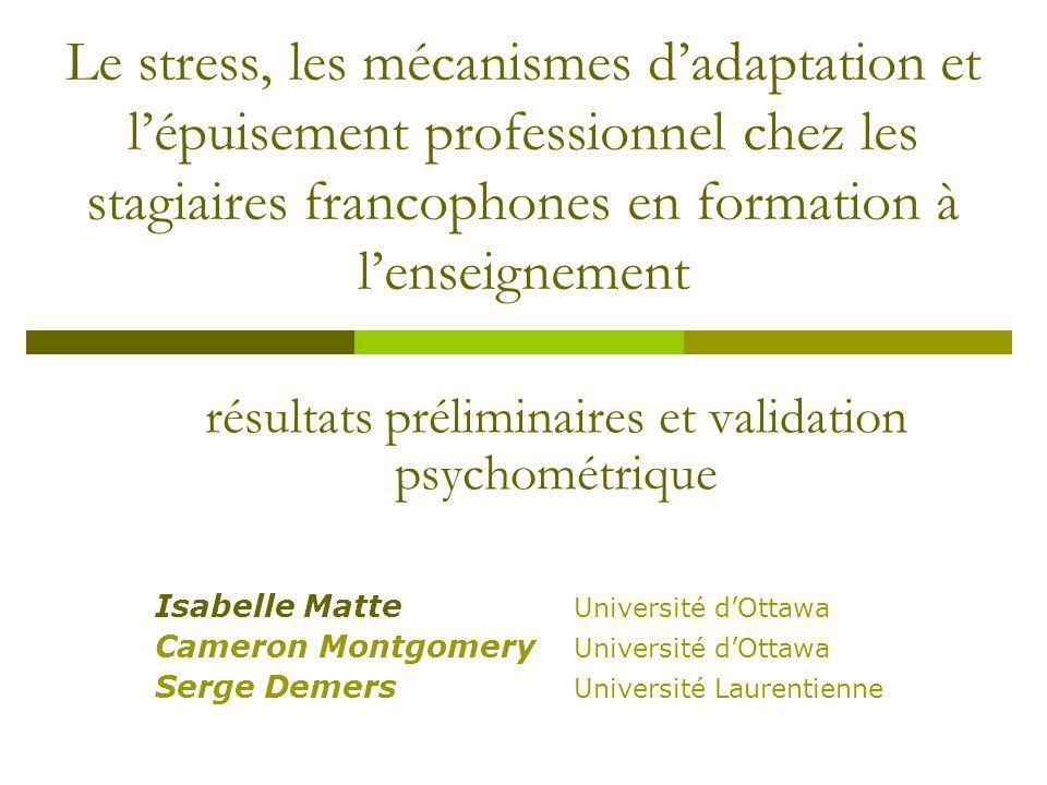 résultats préliminaires et validation psychométrique