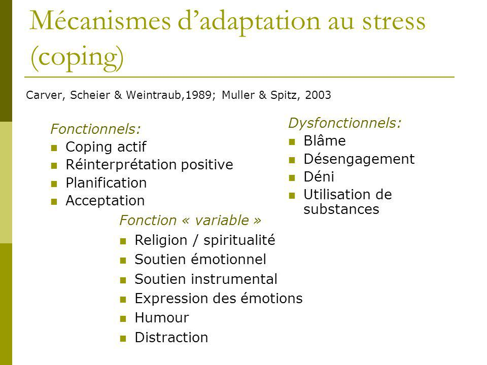 Mécanismes d'adaptation au stress (coping)