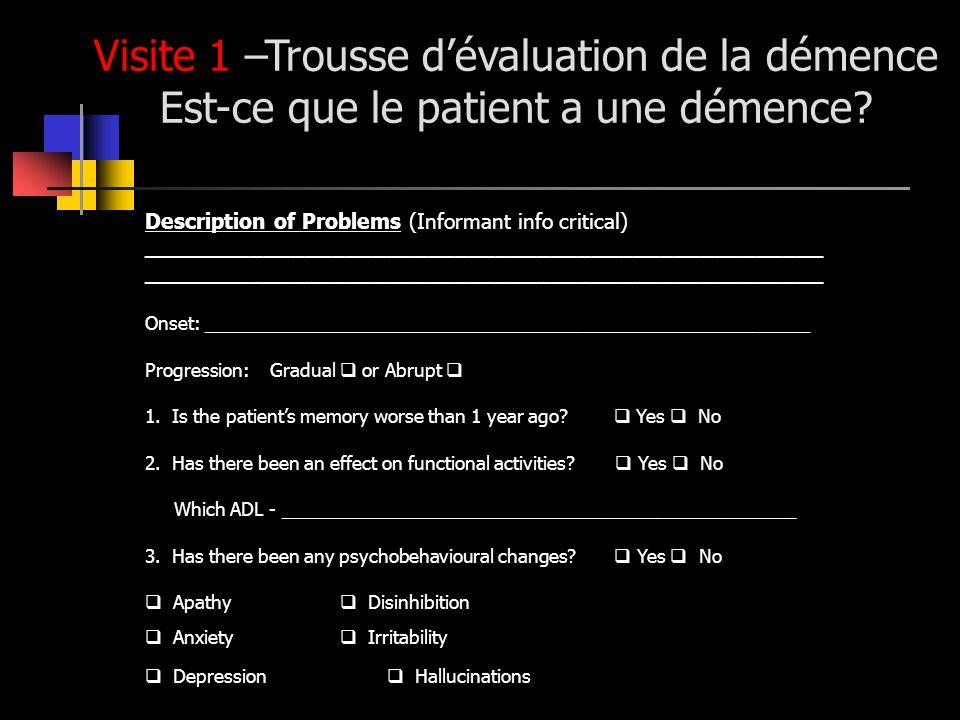 Visite 1 –Trousse d'évaluation de la démence Est-ce que le patient a une démence