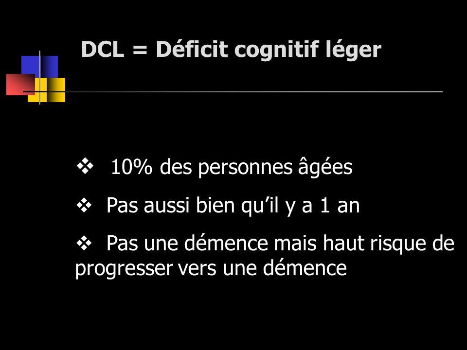 DCL = Déficit cognitif léger