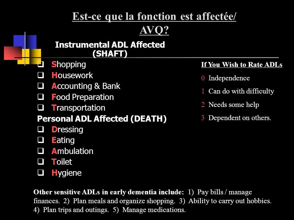 Est-ce que la fonction est affectée/ Instrumental ADL Affected (SHAFT)