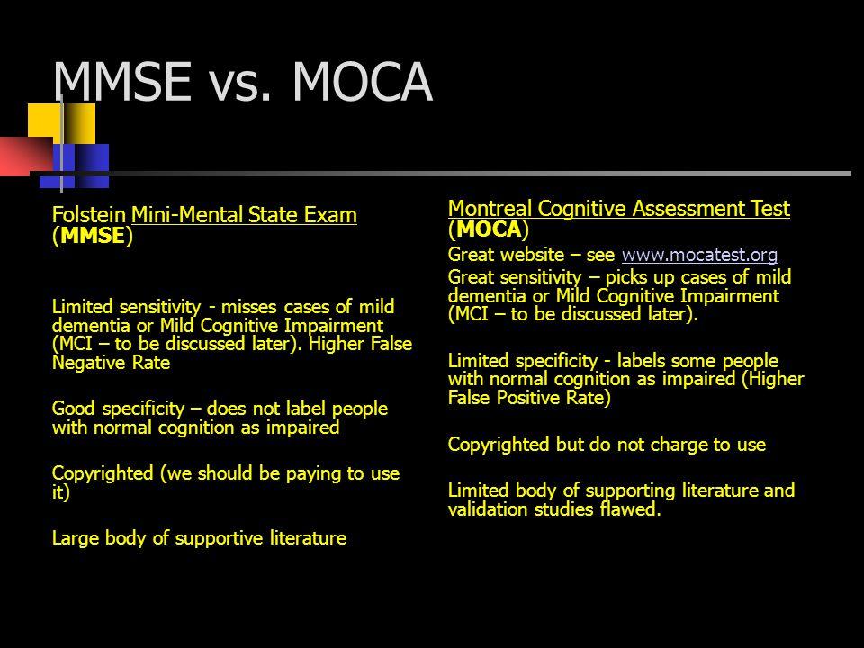 MMSE vs. MOCA Montreal Cognitive Assessment Test (MOCA)