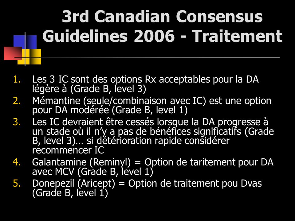 3rd Canadian Consensus Guidelines 2006 - Traitement