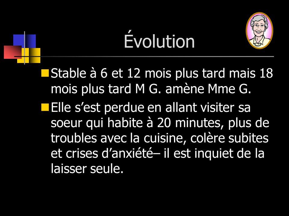 Évolution Stable à 6 et 12 mois plus tard mais 18 mois plus tard M G. amène Mme G.