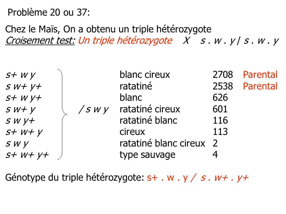 Problème 20 ou 37: Chez le Maïs, On a obtenu un triple hétérozygote. Croisement test: Un triple hétérozygote X s . w . y / s . w . y.