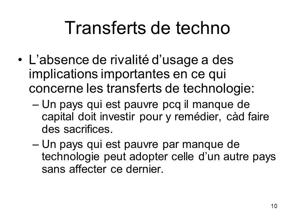 Transferts de techno L'absence de rivalité d'usage a des implications importantes en ce qui concerne les transferts de technologie: