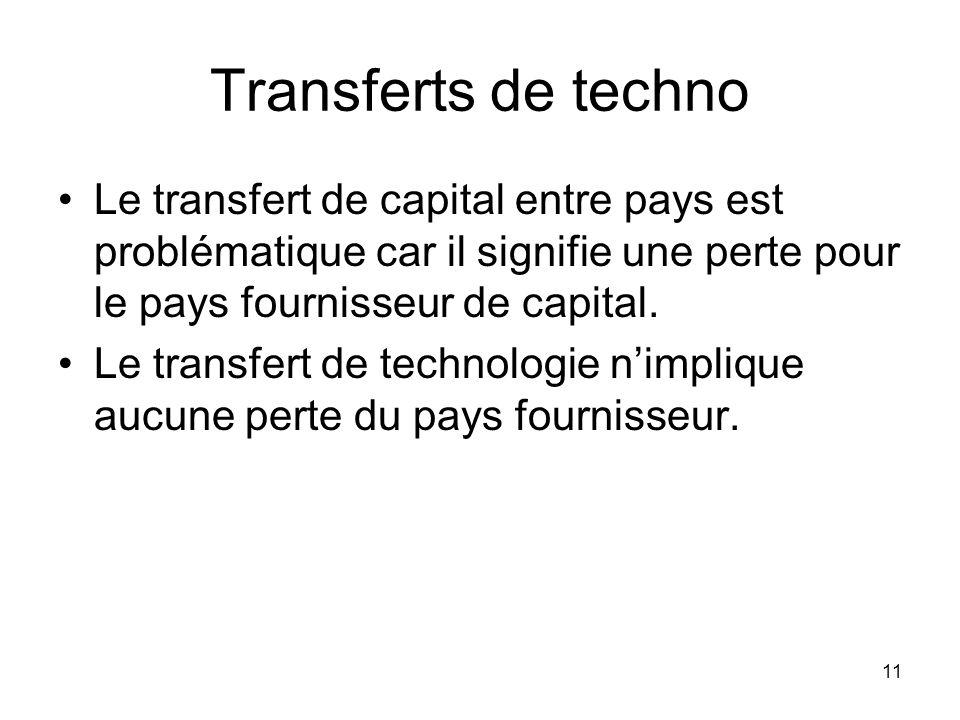 Transferts de techno Le transfert de capital entre pays est problématique car il signifie une perte pour le pays fournisseur de capital.