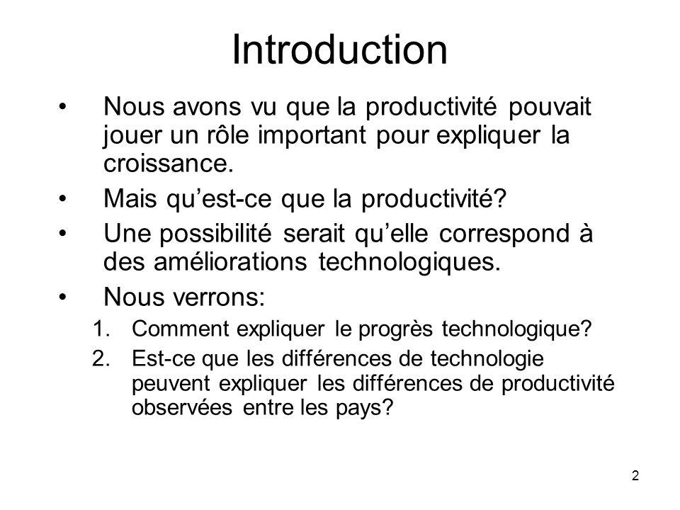 Introduction Nous avons vu que la productivité pouvait jouer un rôle important pour expliquer la croissance.