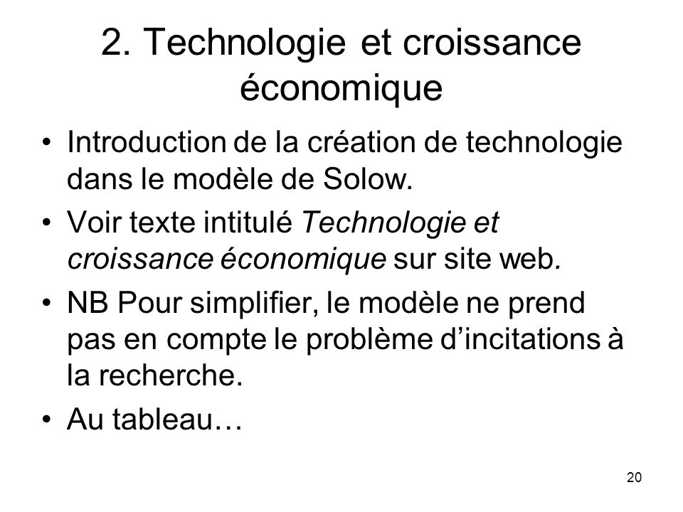 2. Technologie et croissance économique