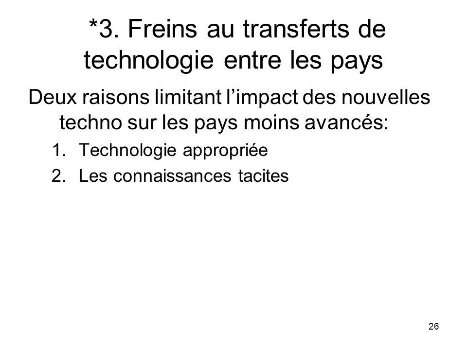 *3. Freins au transferts de technologie entre les pays