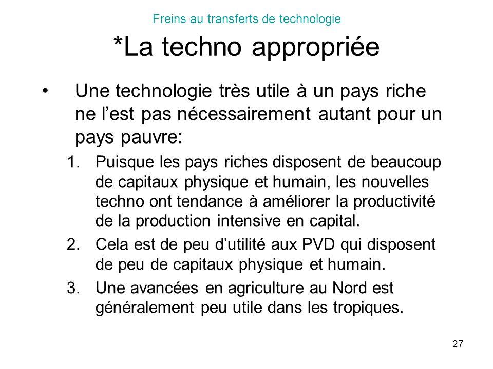 Freins au transferts de technologie *La techno appropriée