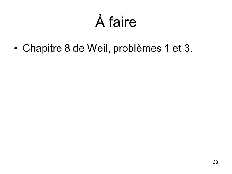 À faire Chapitre 8 de Weil, problèmes 1 et 3.