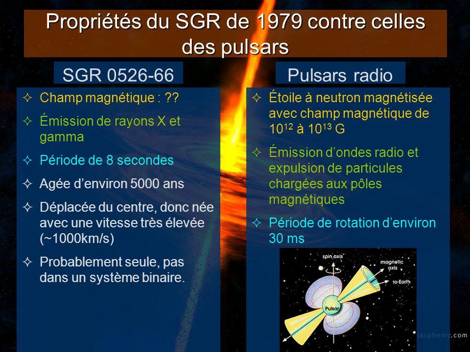 Propriétés du SGR de 1979 contre celles des pulsars