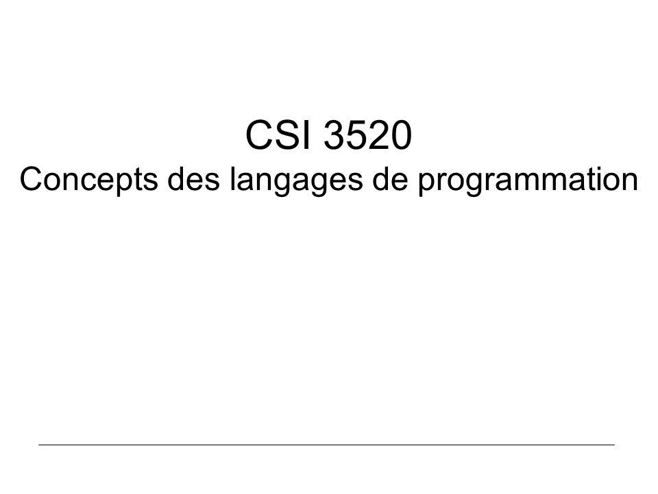 CSI 3520 Concepts des langages de programmation