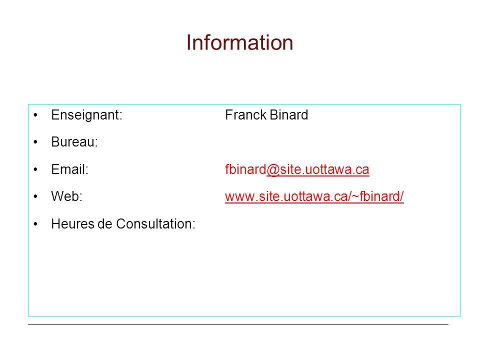 Information Enseignant: Franck Binard Bureau: