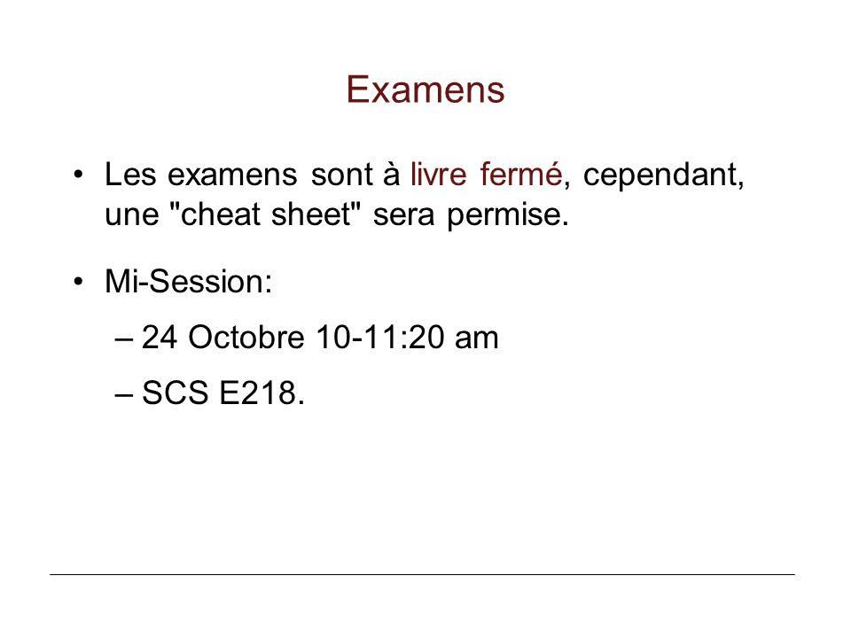 Examens Les examens sont à livre fermé, cependant, une cheat sheet sera permise. Mi-Session: 24 Octobre 10-11:20 am.