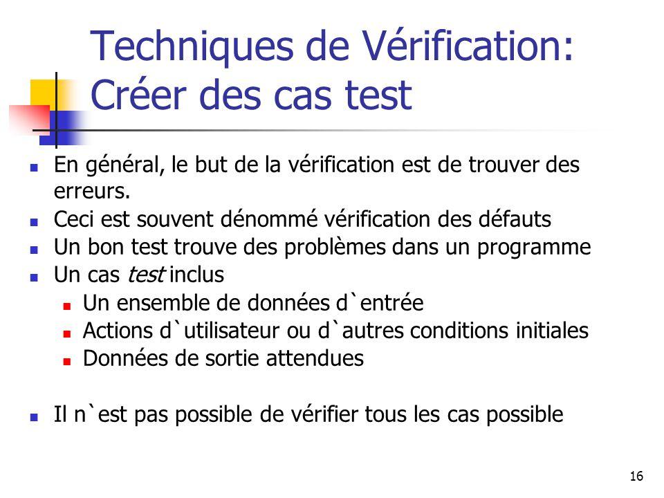 Techniques de Vérification: Créer des cas test