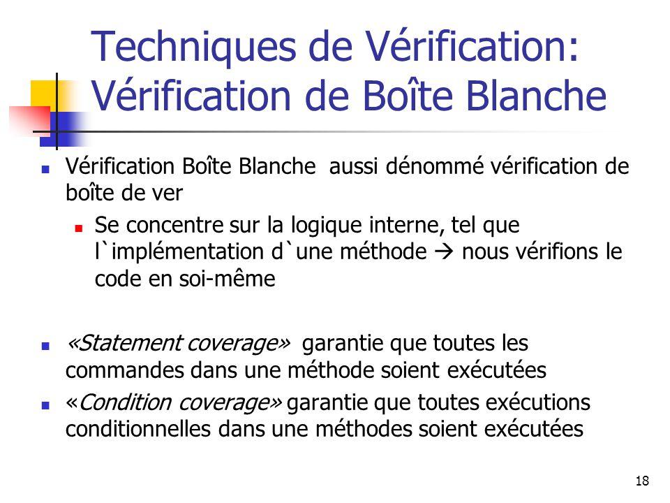 Techniques de Vérification: Vérification de Boîte Blanche