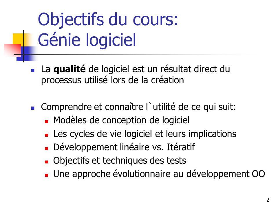 Objectifs du cours: Génie logiciel