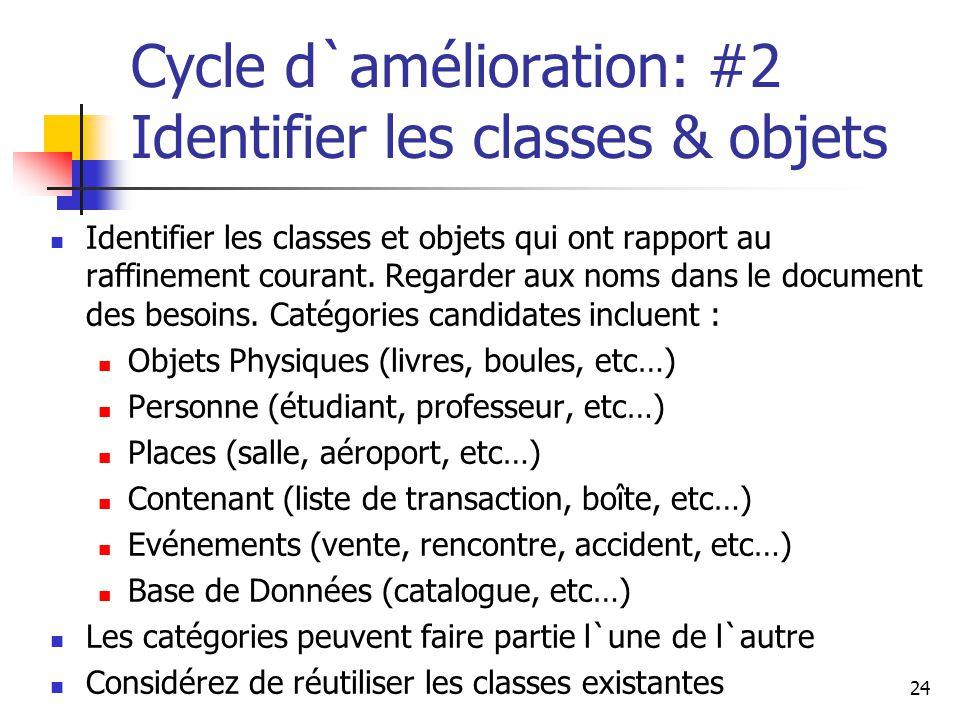 Cycle d`amélioration: #2 Identifier les classes & objets