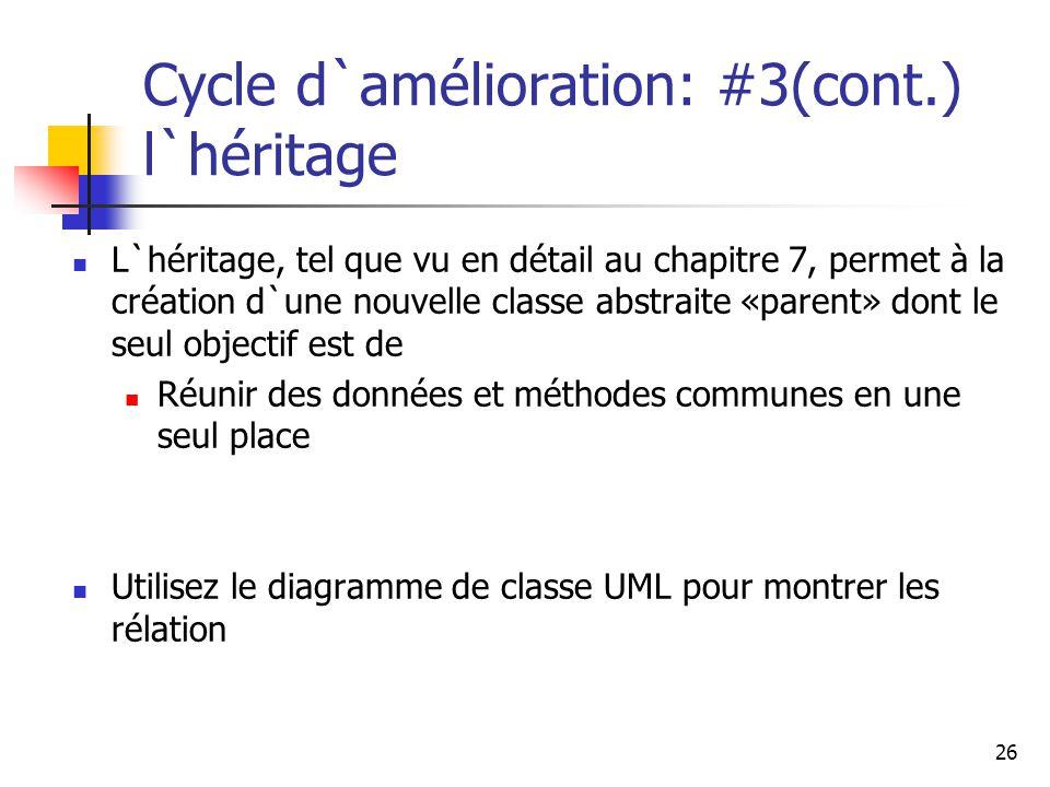 Cycle d`amélioration: #3(cont.) l`héritage