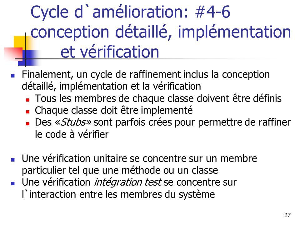 Cycle d`amélioration: #4-6 conception détaillé, implémentation