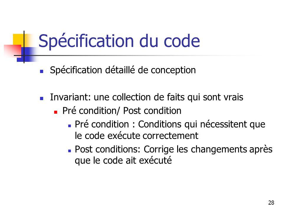 Spécification du code Spécification détaillé de conception