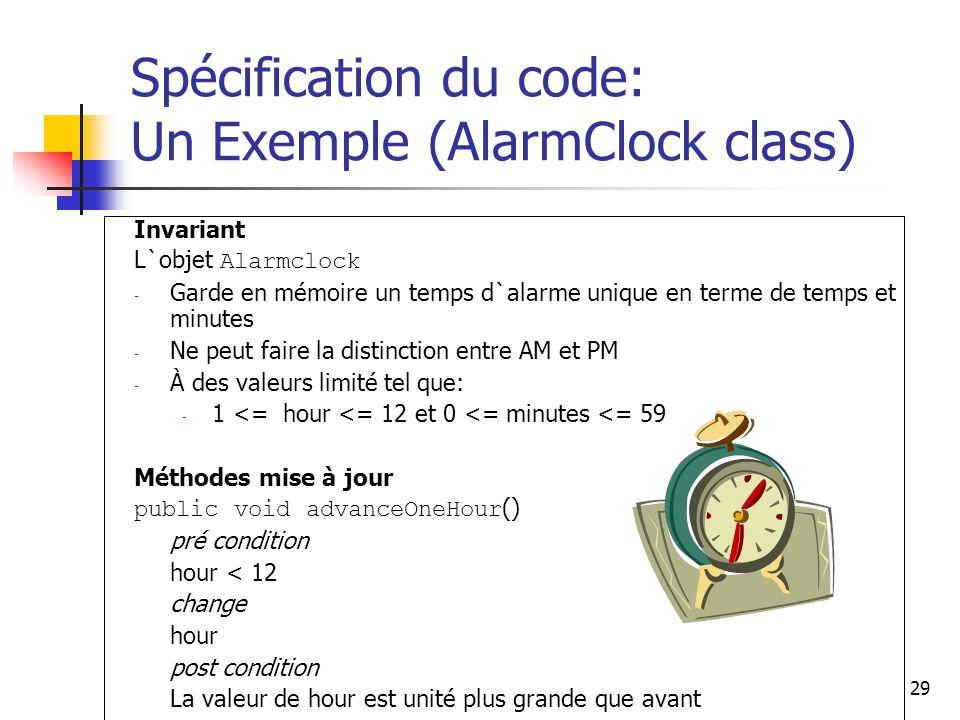 Spécification du code: Un Exemple (AlarmClock class)