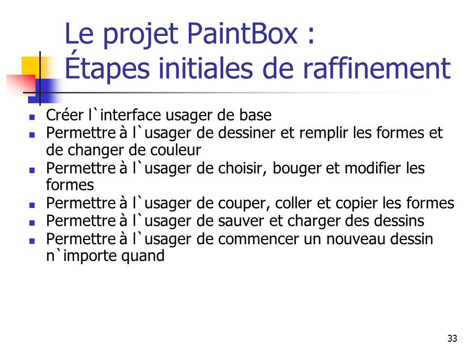 Le projet PaintBox : Étapes initiales de raffinement