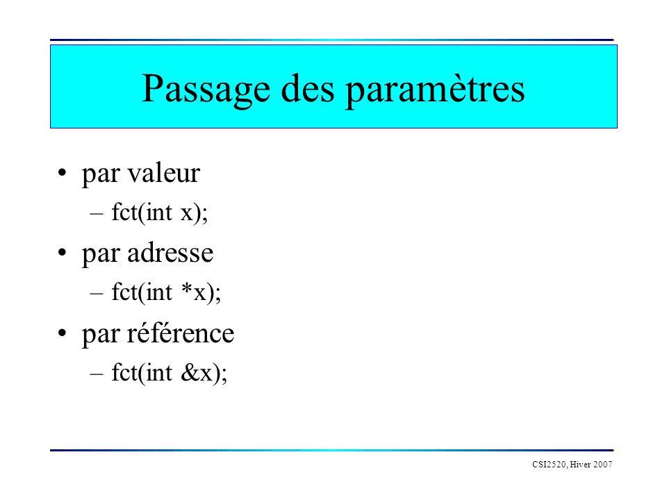 Passage des paramètres