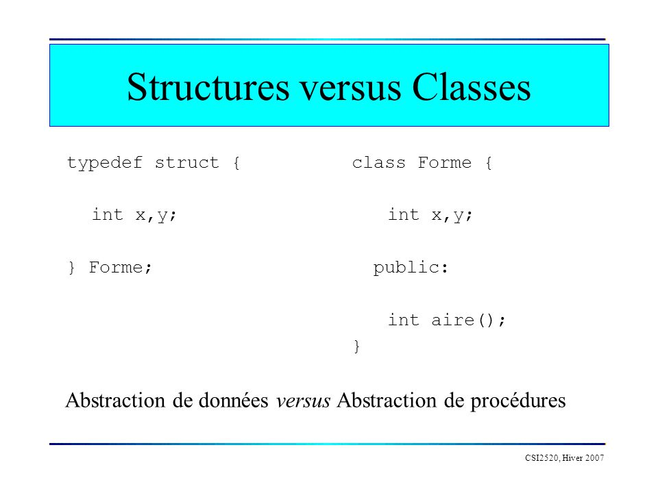 Structures versus Classes