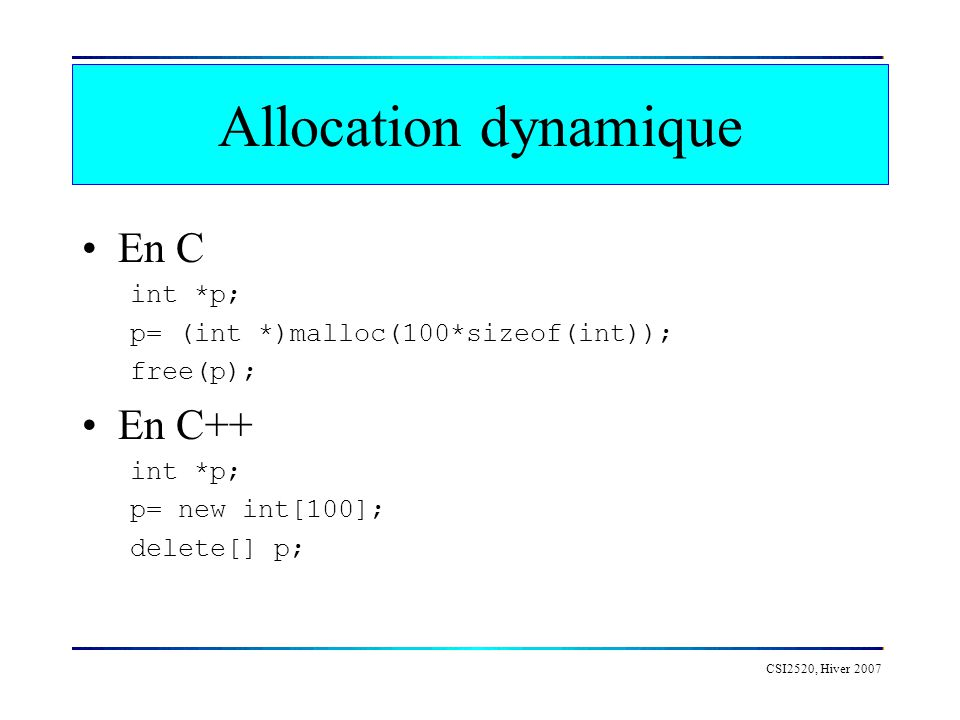 Allocation dynamique En C En C++ int *p;
