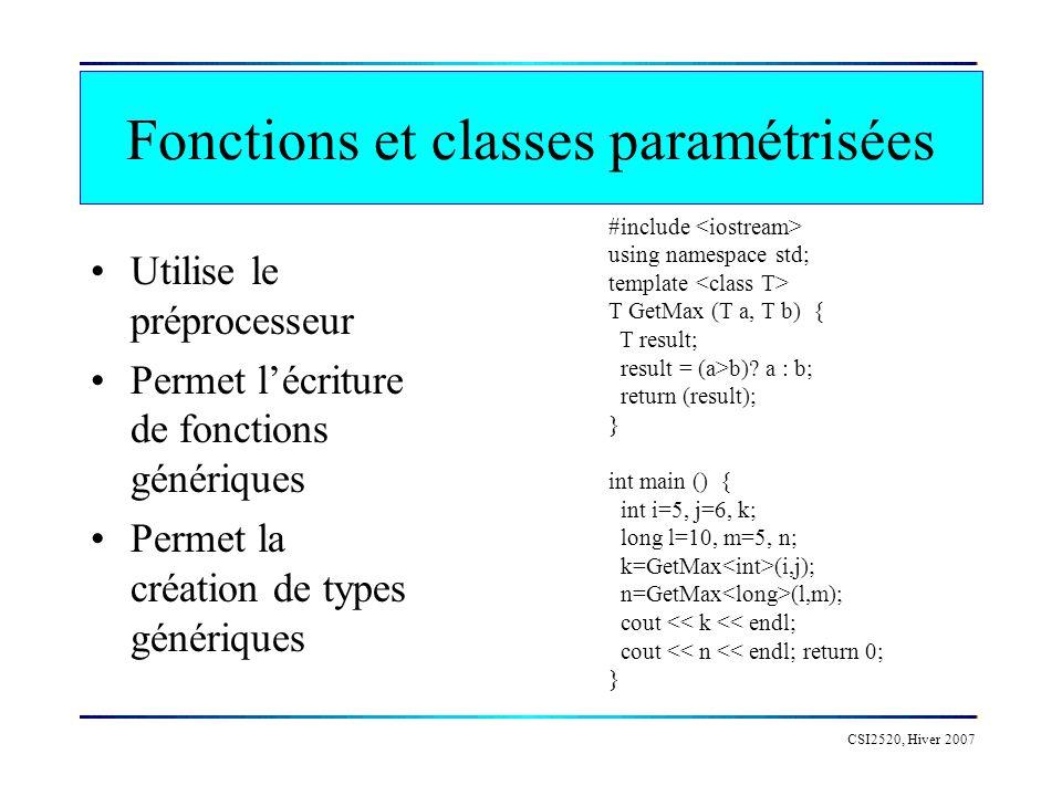 Fonctions et classes paramétrisées
