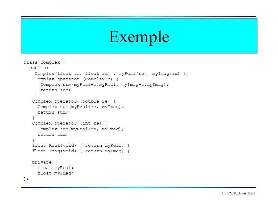 Exemple class Complex { public: