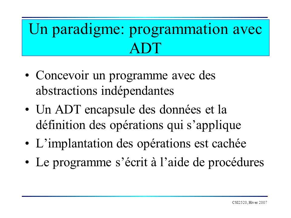 Un paradigme: programmation avec ADT