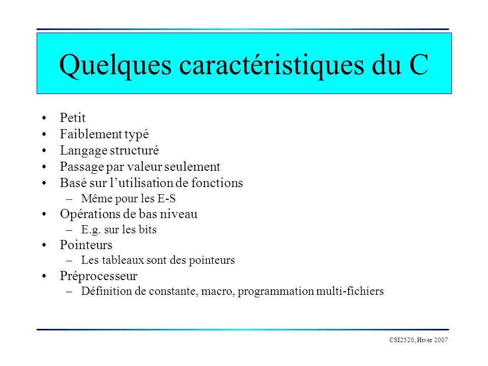 Quelques caractéristiques du C