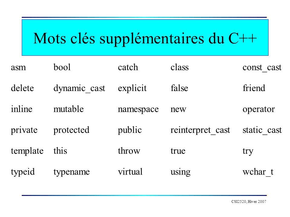 Mots clés supplémentaires du C++
