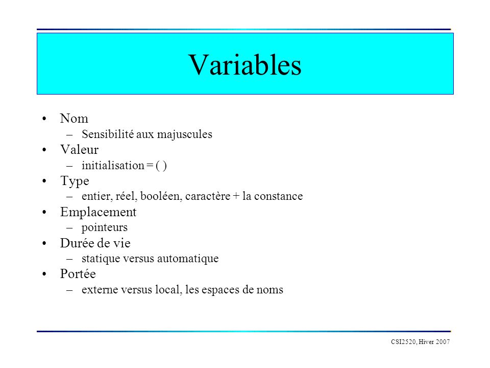 Variables Nom Valeur Type Emplacement Durée de vie Portée
