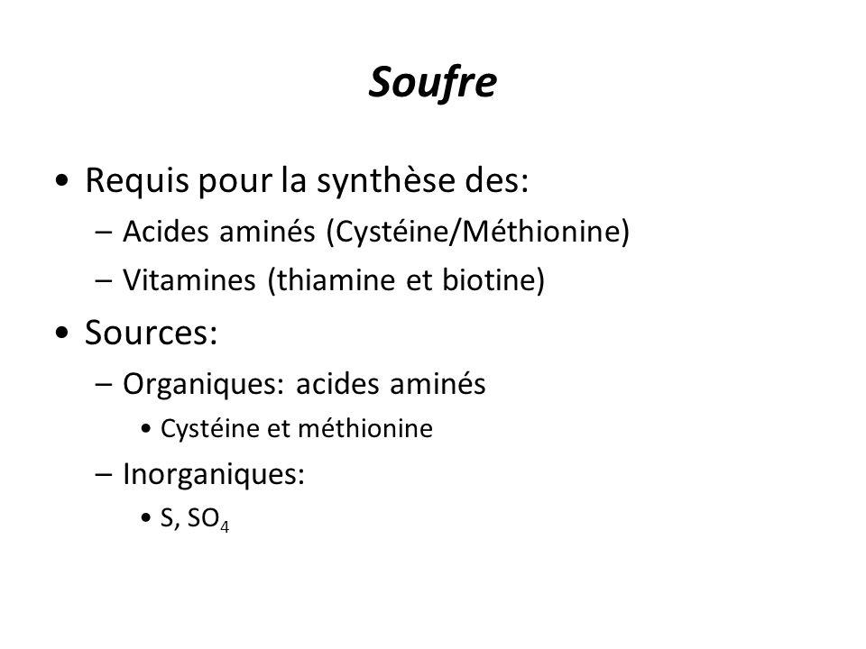 Soufre Requis pour la synthèse des: Sources: