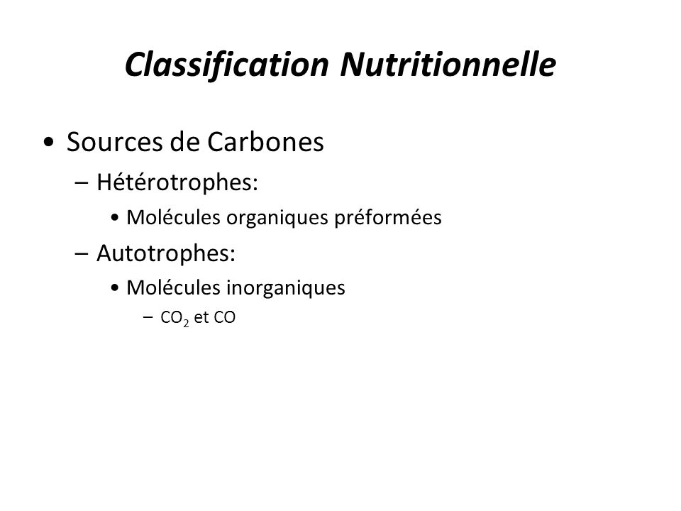 Classification Nutritionnelle
