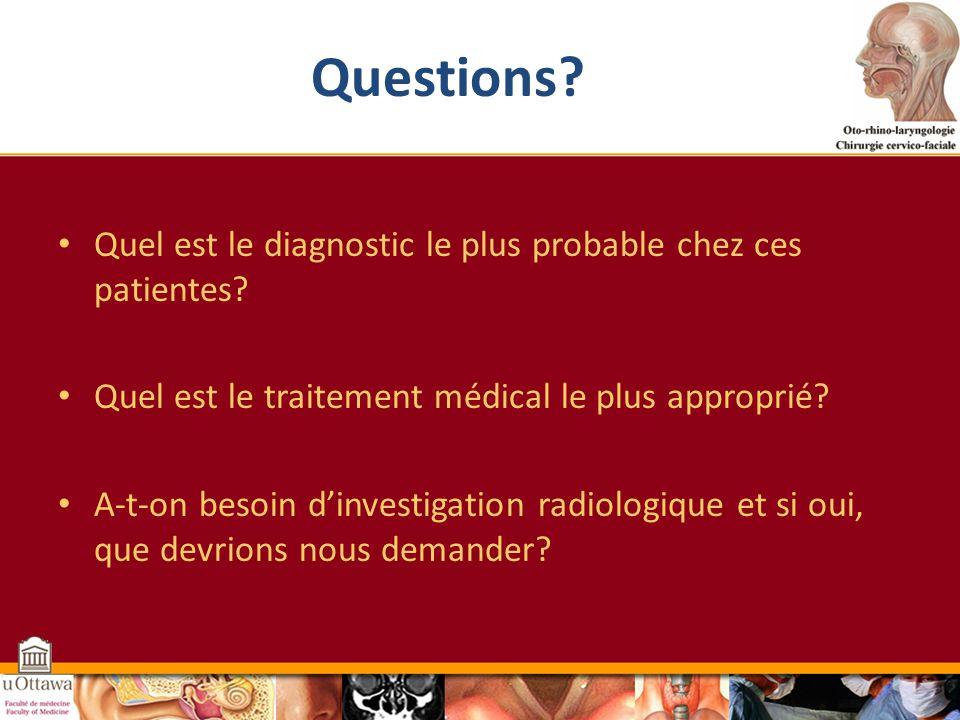 Questions Quel est le diagnostic le plus probable chez ces patientes