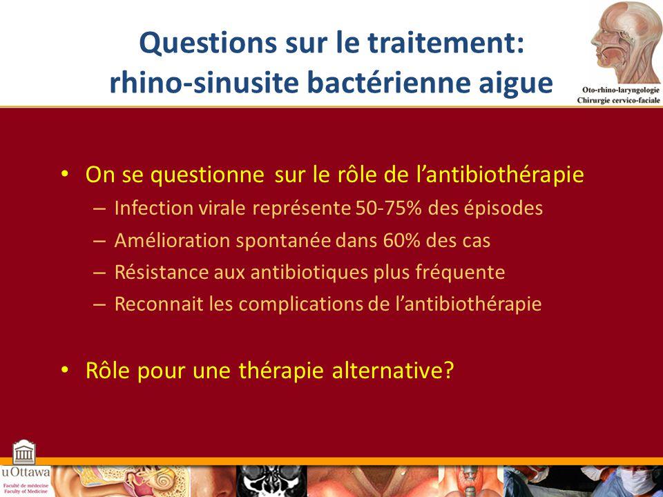 Questions sur le traitement: rhino-sinusite bactérienne aigue