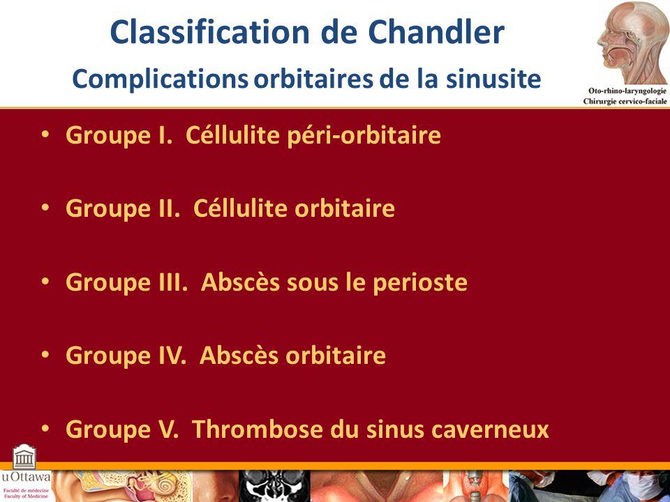 Classification de Chandler Complications orbitaires de la sinusite